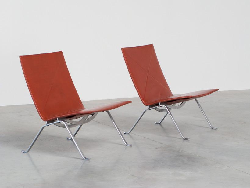 Poul Kjaerholm pair PK 22 lounge chairs E Kold Christensen