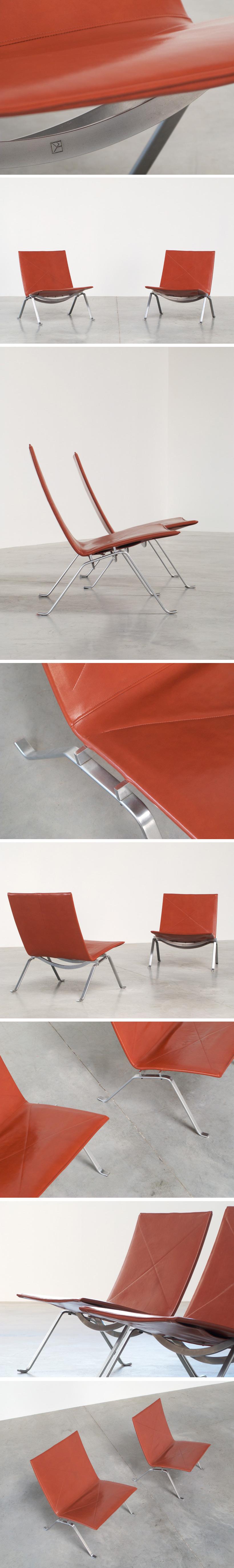 Poul Kjaerholm pair PK 22 lounge chairs E Kold Christensen Large