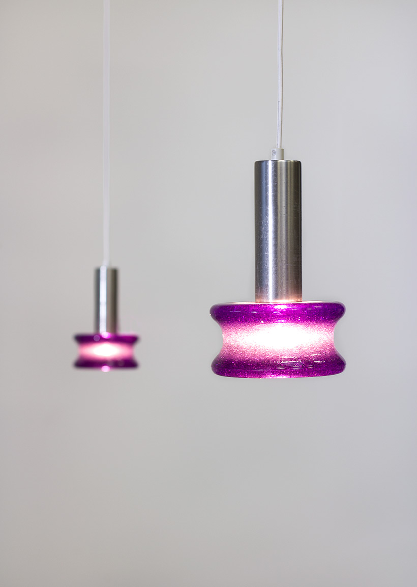 Raak Amsterdam pair B-1214 brutalist glass pendant lights
