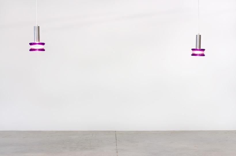 Raak Amsterdam pair B-1214 brutalist glass pendant lights img 3
