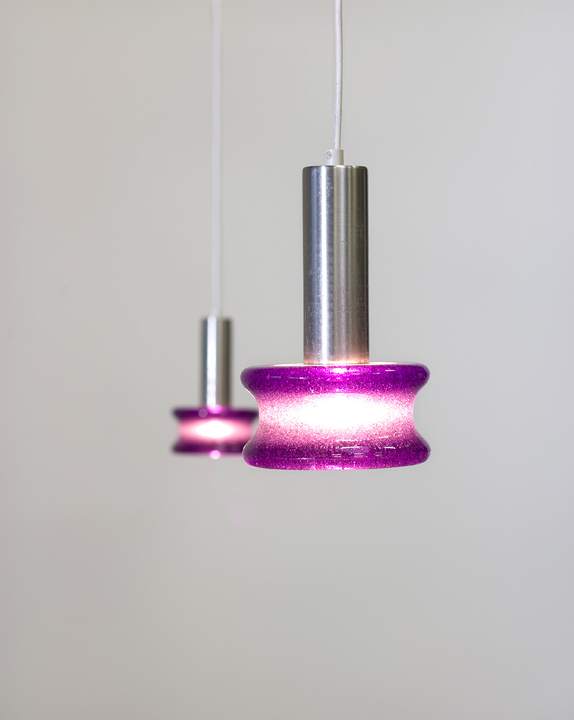 Raak Amsterdam pair B-1214 brutalist glass pendant lights img 7