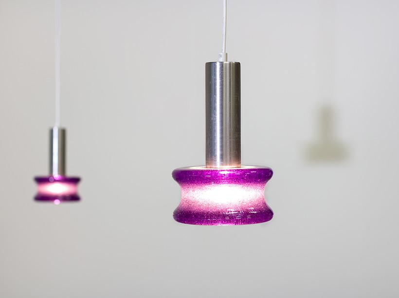 Raak Amsterdam pair B-1214 brutalist glass pendant lights img 8