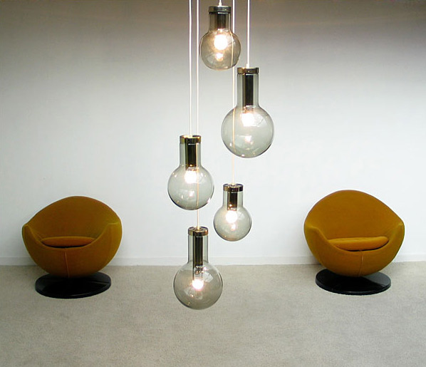 Raak glass fume globes Chandelier 1970