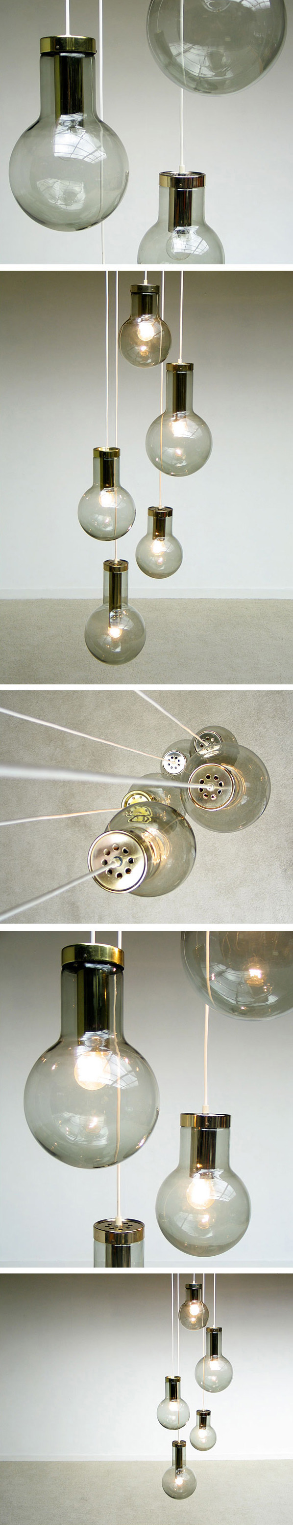Raak glass fume globes Chandelier 1970 Large