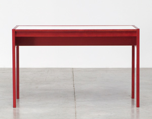 Rectangular red wooden modernist desk 1970