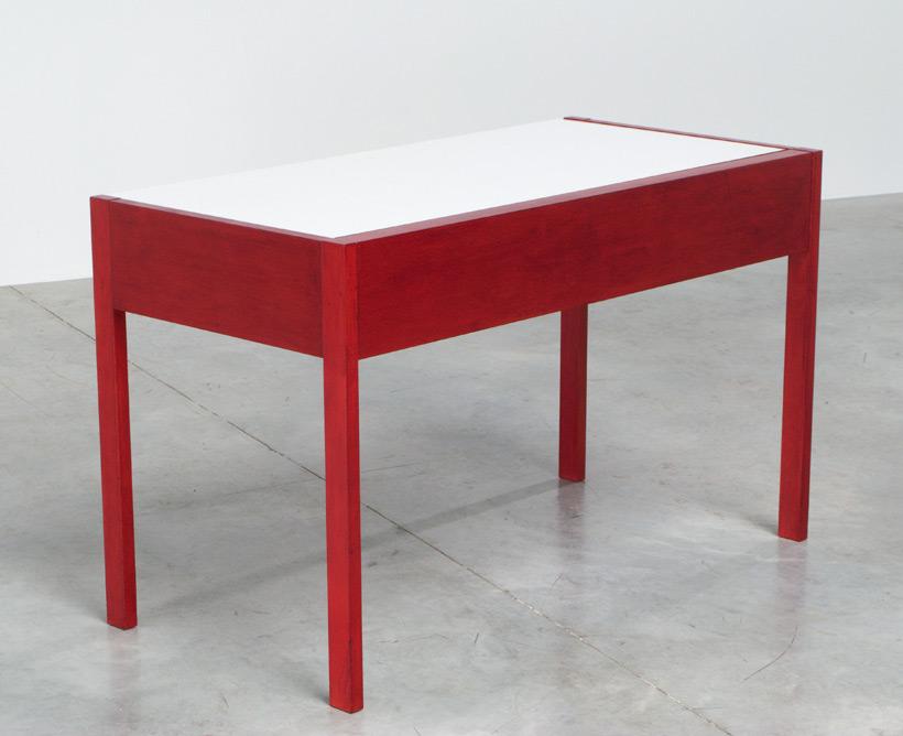 Rectangular red wooden modernist desk 1970