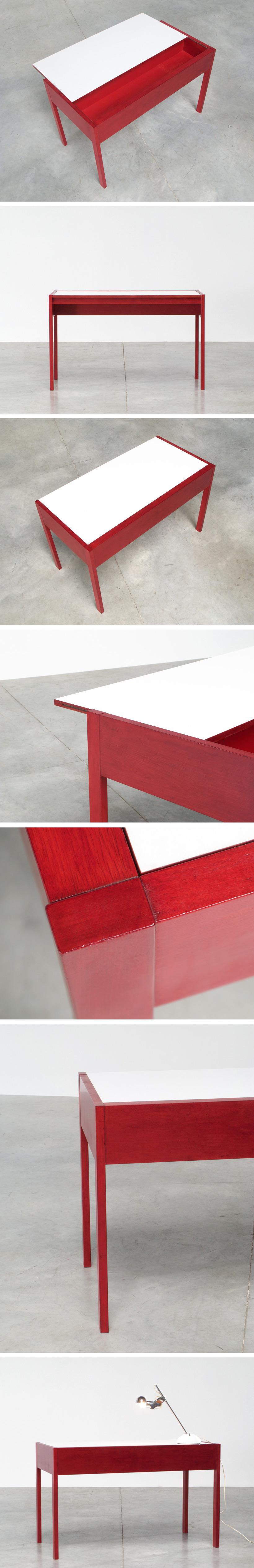 Rectangular red wooden modernist desk 1970 Large