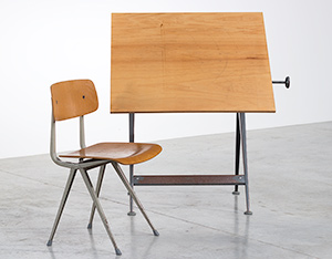Reply drafting table designed by Wim Rietveld and Friso Kramer chair