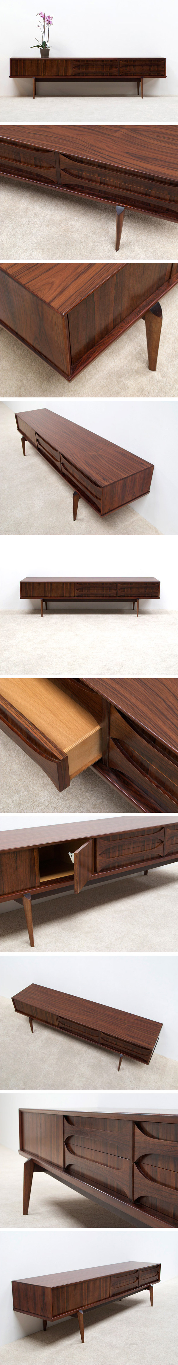 Rosewood Ultra low V-form Paola sideboard designed by Oswald Vermaercke Large