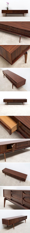 Rosewood Ultra low V-form Paola sideboard designed by Oswald Vermaercke Large