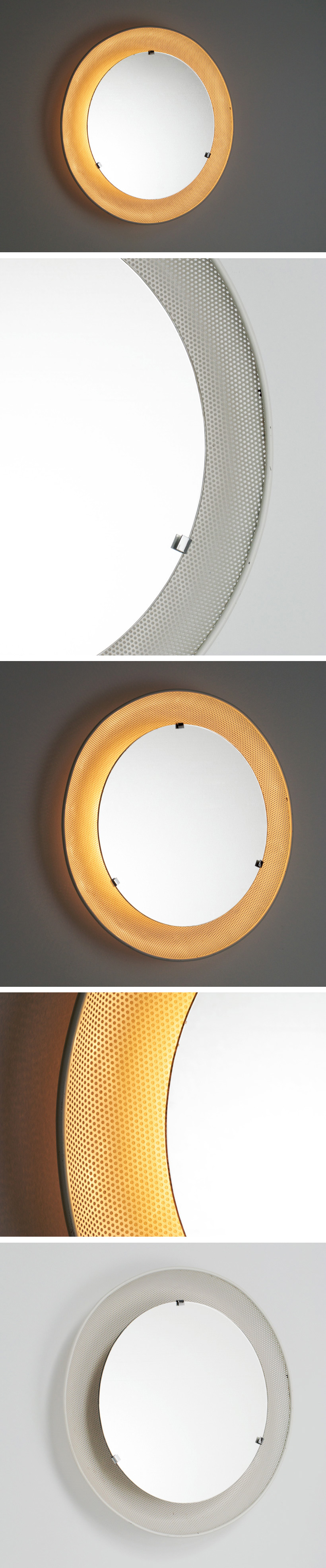 Round metal perforated mirror with backlight 1950 Large