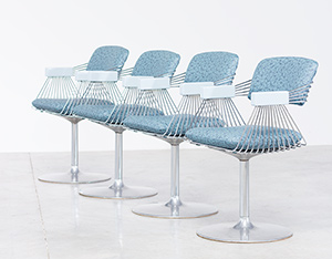 Rudi Verelst set of four dinning chairs Novalux 1974