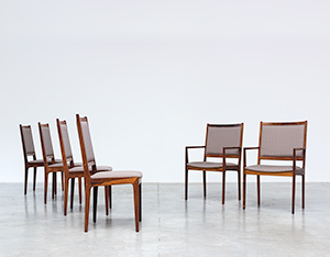 Scandinavian modernist rosewood set of six dining chairs Denmark 1960
