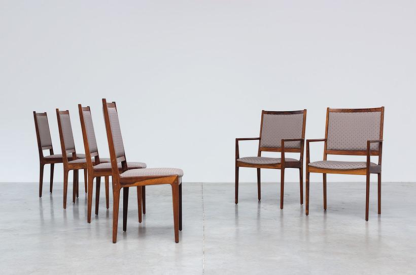 Scandinavian modernist rosewood set of six dining chairs Denmark 1960 img 10