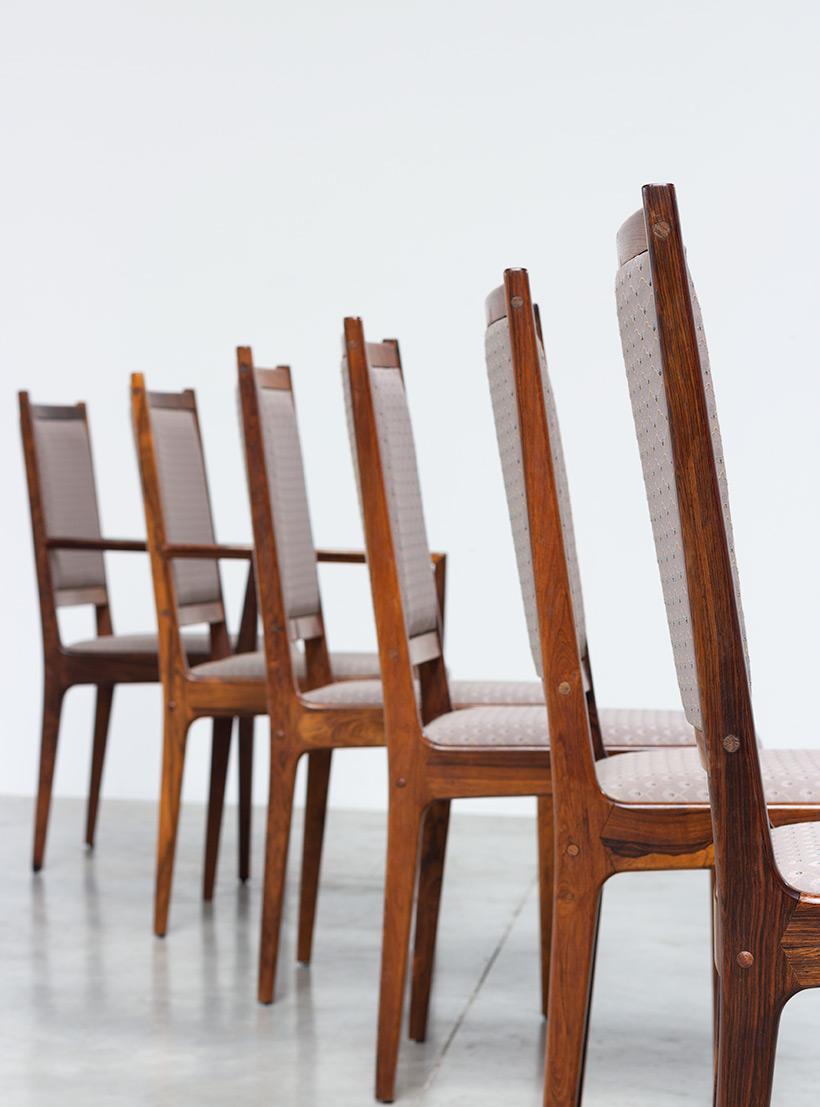 Scandinavian modernist rosewood set of six dining chairs Denmark 1960