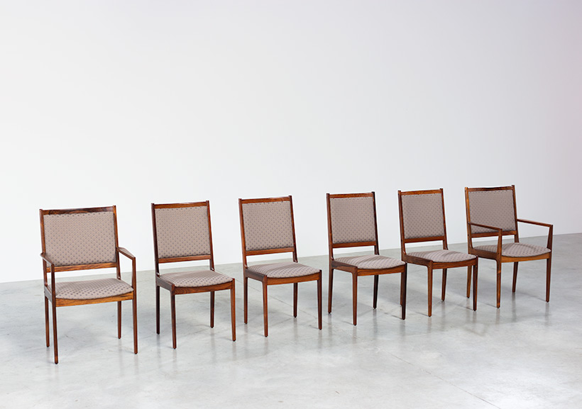Scandinavian modernist rosewood set of six dining chairs Denmark 1960 img 3