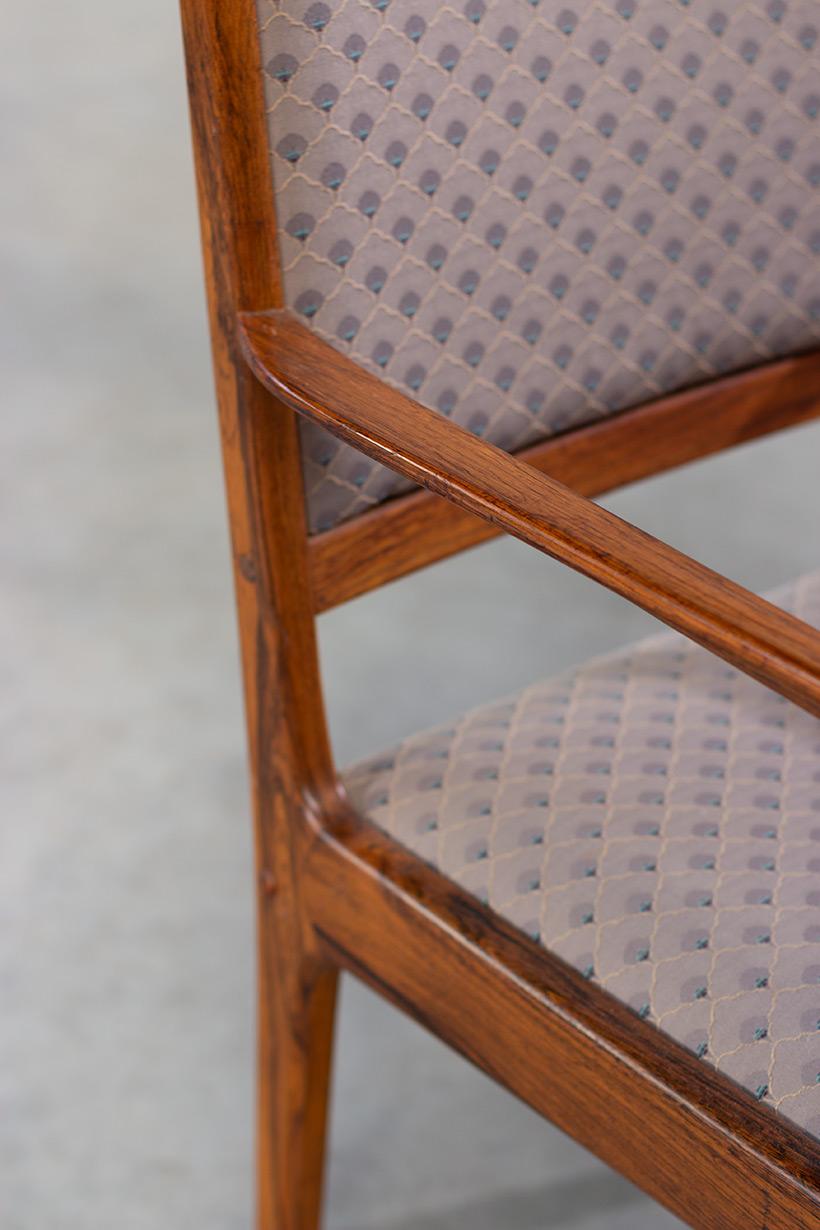Scandinavian modernist rosewood set of six dining chairs Denmark 1960 img 6