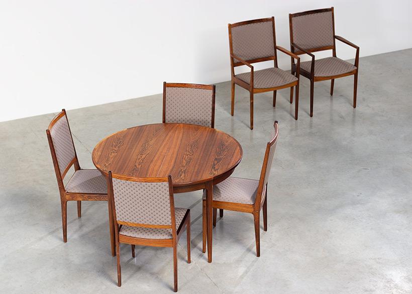 Scandinavian modernist rosewood set of six dining chairs Denmark 1960 img 9