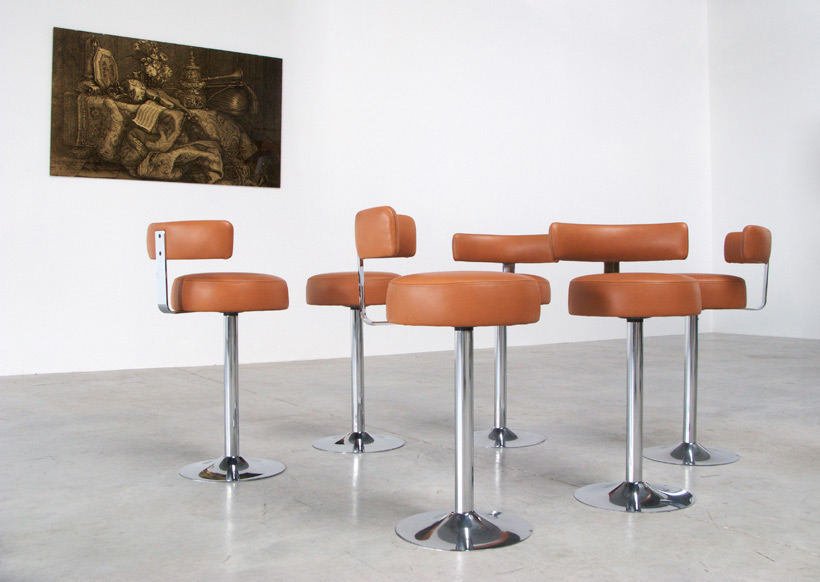 Set of 6 Chrome Bar Stools in Cognac Leather