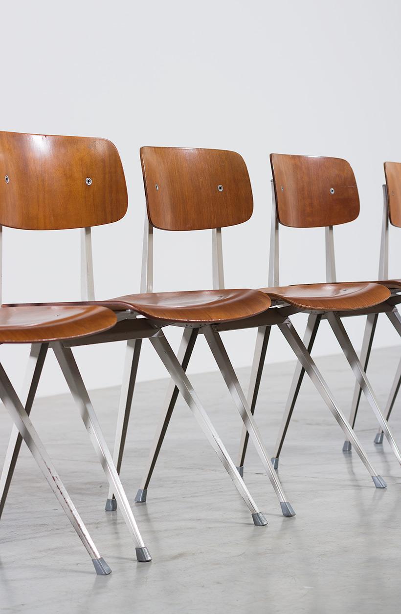 Set of 8 Friso Kramer Result chairs De Cirkel Industrial 1960