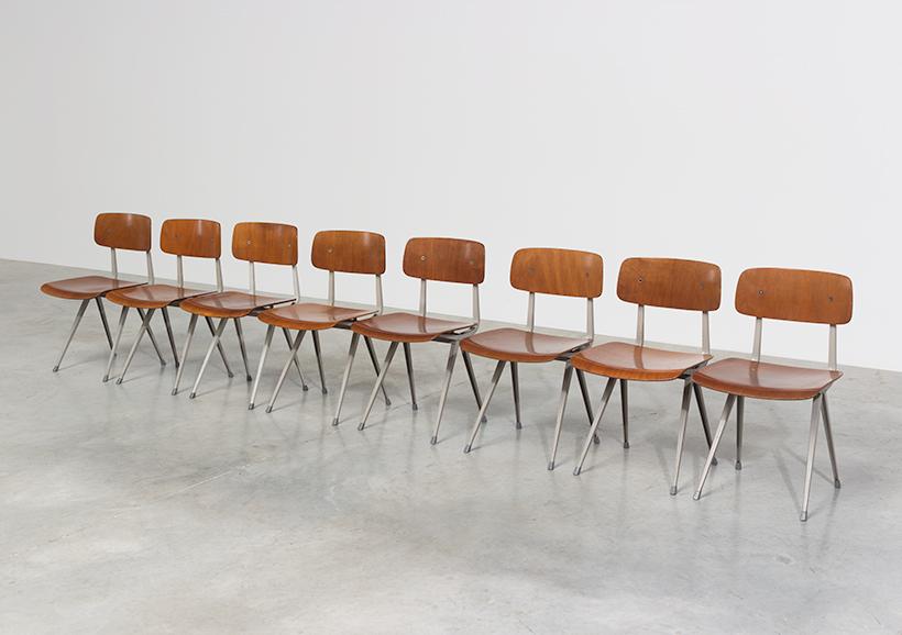 Set of 8 Friso Kramer Result chairs De Cirkel Industrial 1960 img 3