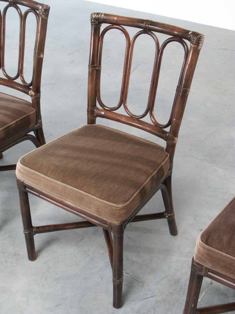 Set of five Vintage McGuire Bamboo chairs Jules Wabbes