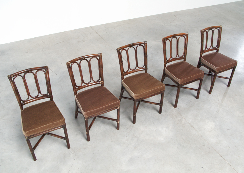 Set of five Vintage McGuire Bamboo chairs Jules Wabbes img 4