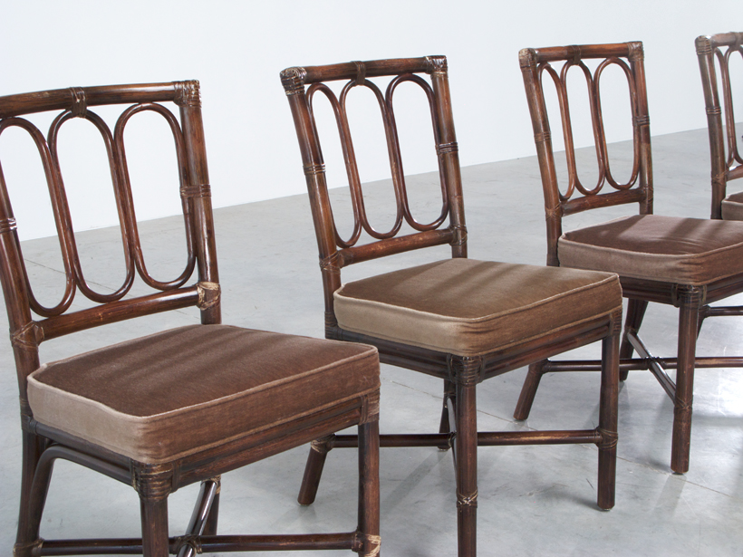 Set of five Vintage McGuire Bamboo chairs Jules Wabbes img 5