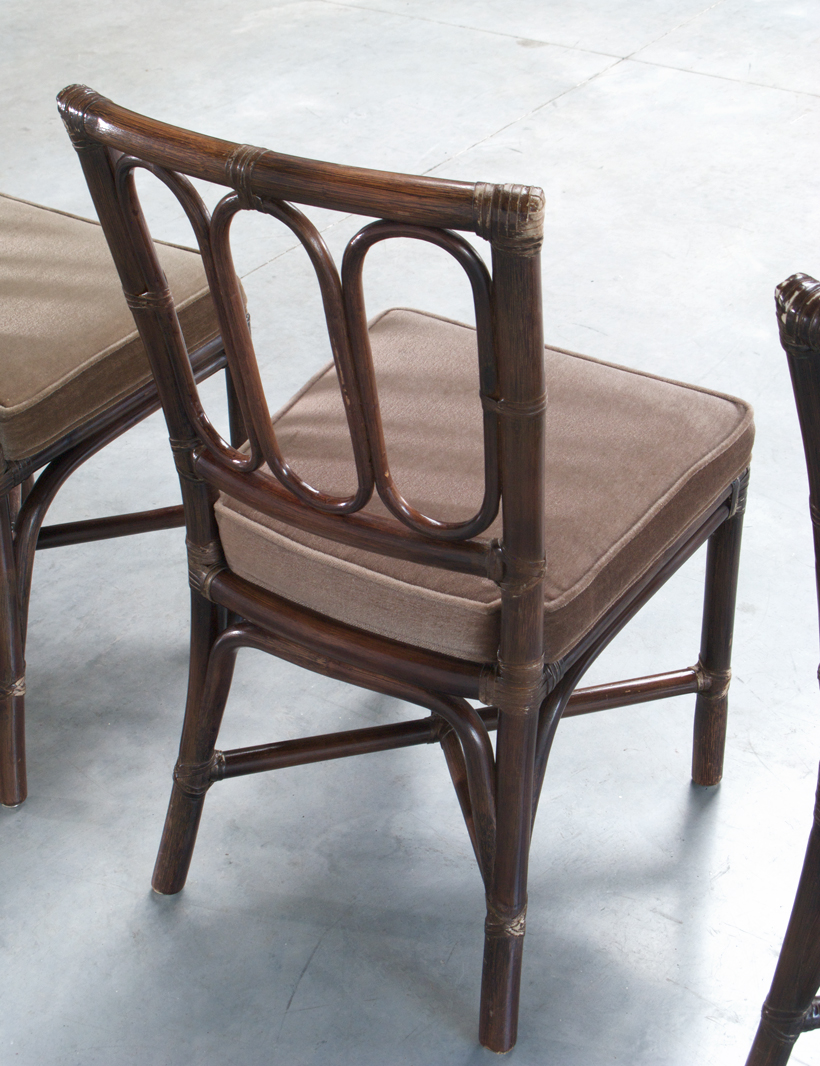 Set of five Vintage McGuire Bamboo chairs Jules Wabbes img 6