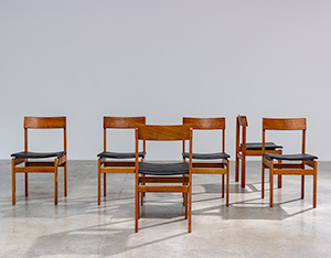 Set of six modernist dining chairs Van den Berghe-Pauvers Ghent Belgium 1960