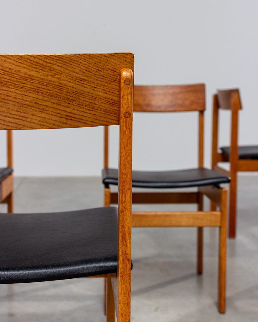Set of six modernist dining chairs Van den Berghe-Pauvers Ghent Belgium 1960