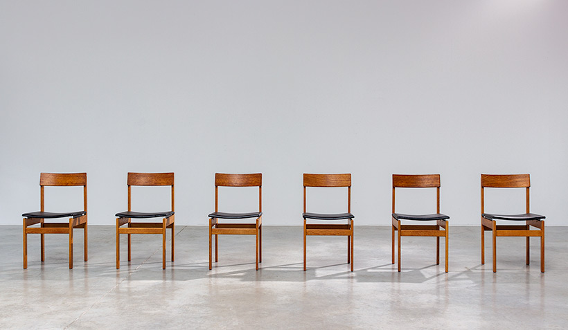 Set of six modernist dining chairs Van den Berghe-Pauvers Ghent Belgium 1960 img 3