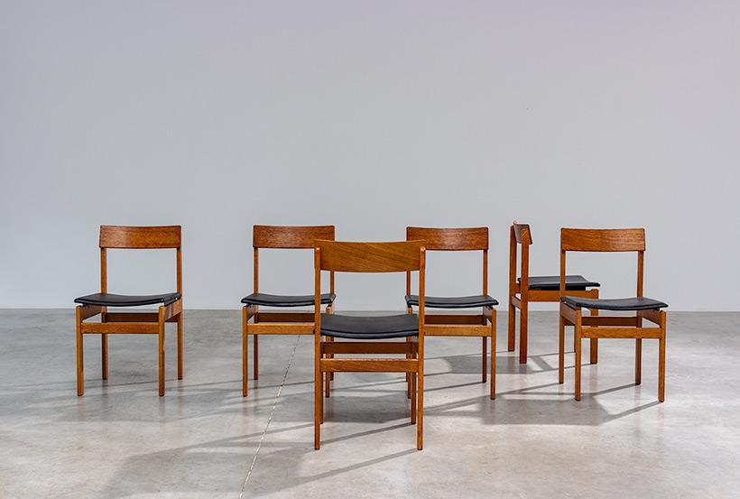 Set of six modernist dining chairs Van den Berghe-Pauvers Ghent Belgium 1960 img 7