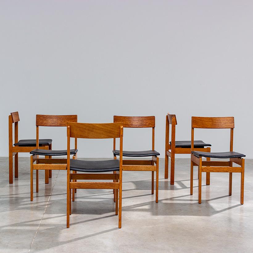 Set of six modernist dining chairs Van den Berghe-Pauvers Ghent Belgium 1960 img 8