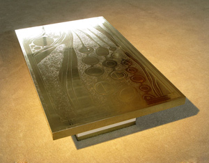 Signed Luigi etched brass coffee table