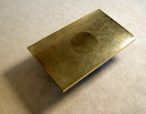 Signed Ricco D etched brass coffee table 1970