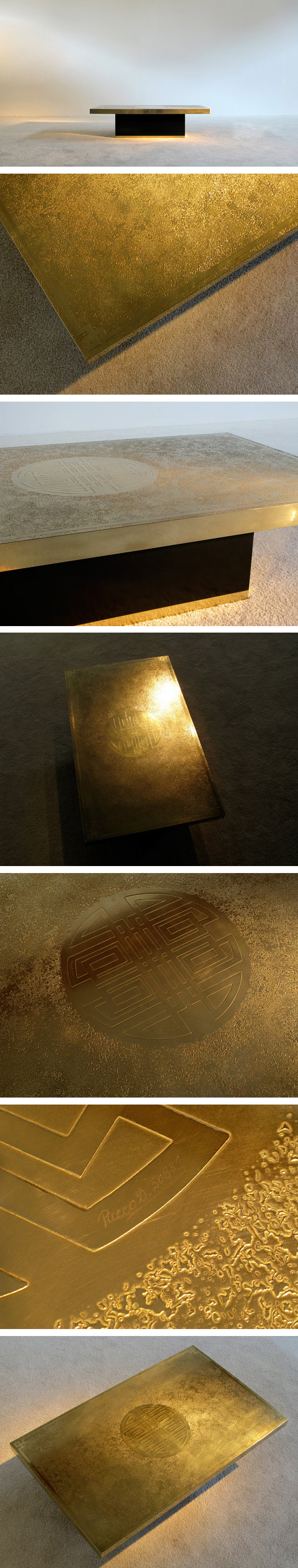 Signed Ricco D etched brass coffee table 1970 Large