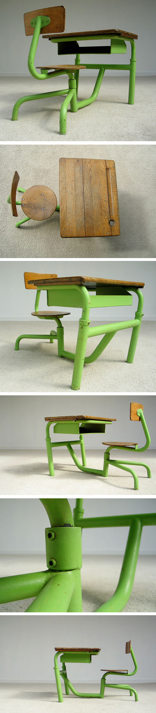 Single seat school desk Jean Prouve 1950 Large