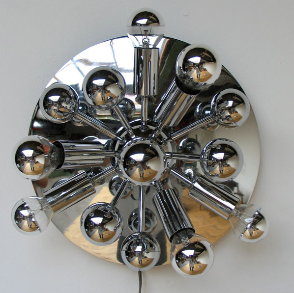 Small Space age chrome Sputnik ceiling lamp Panton eames era