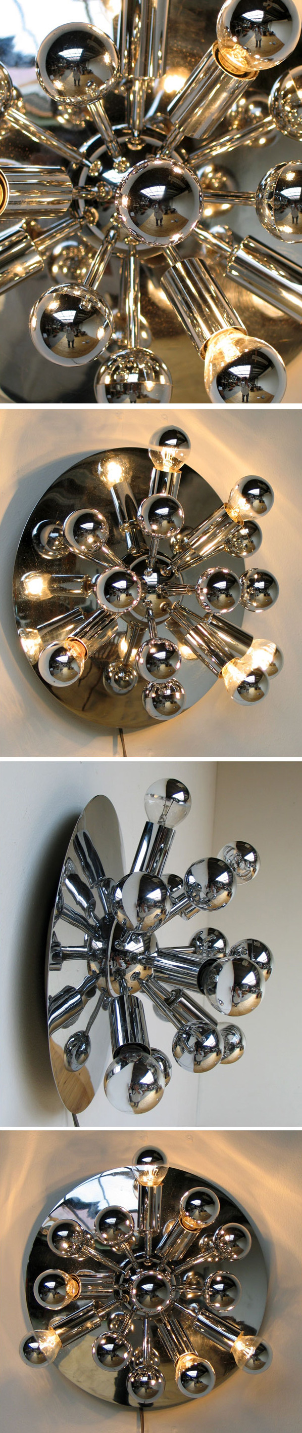 Small Space age chrome Sputnik ceiling lamp Panton eames era Large