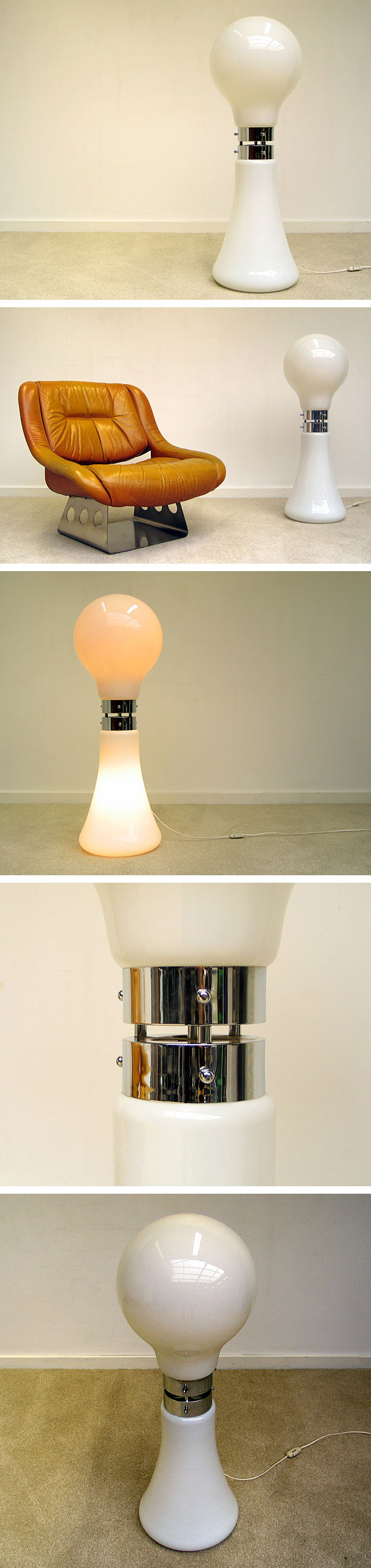 Space Age Italian glass floor lamp Murano Italy Large