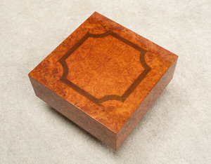 Square burl wood side table