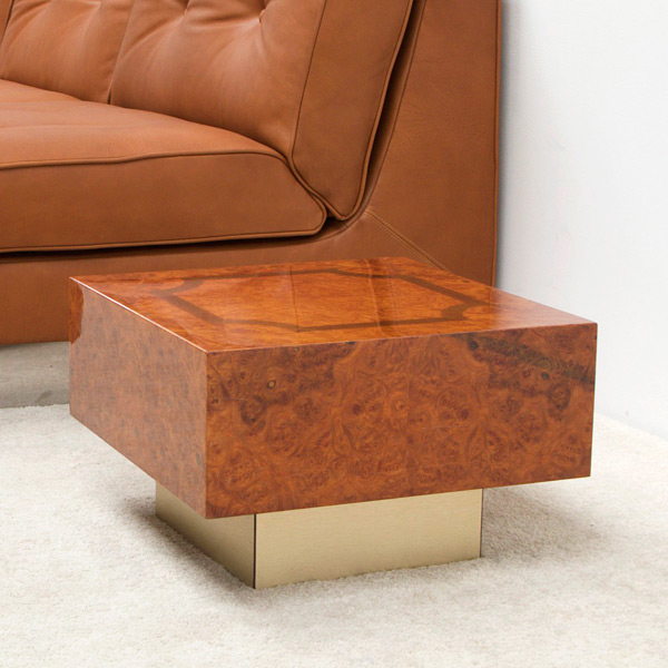 Square burl wood side table img 4
