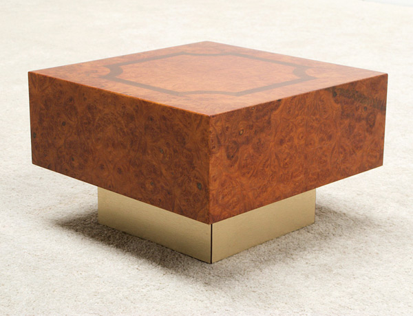 Square burl wood side table img 7