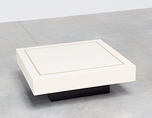 Square coffee table cream lacquer and messing circa 1970