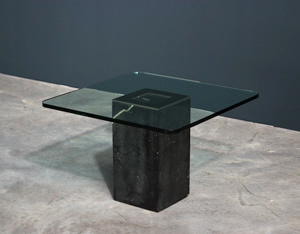 Square side table with glass top