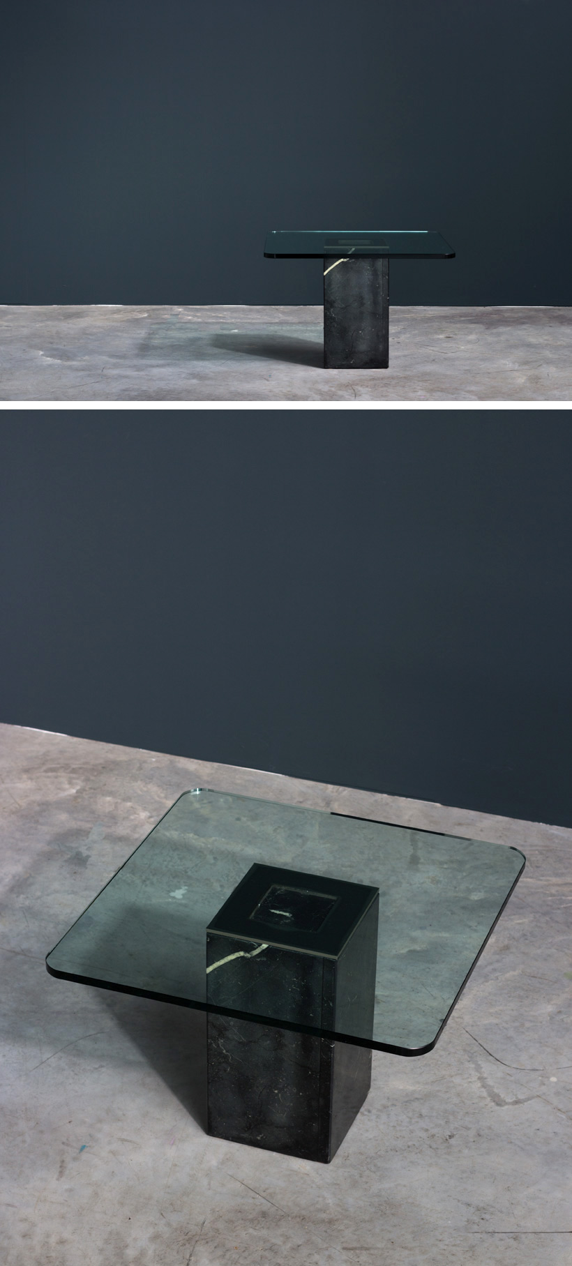 Square side table with glass top Large
