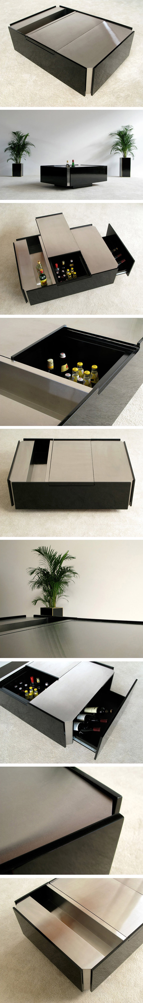 Stainless steel coffee table with fridge circa 70 Large