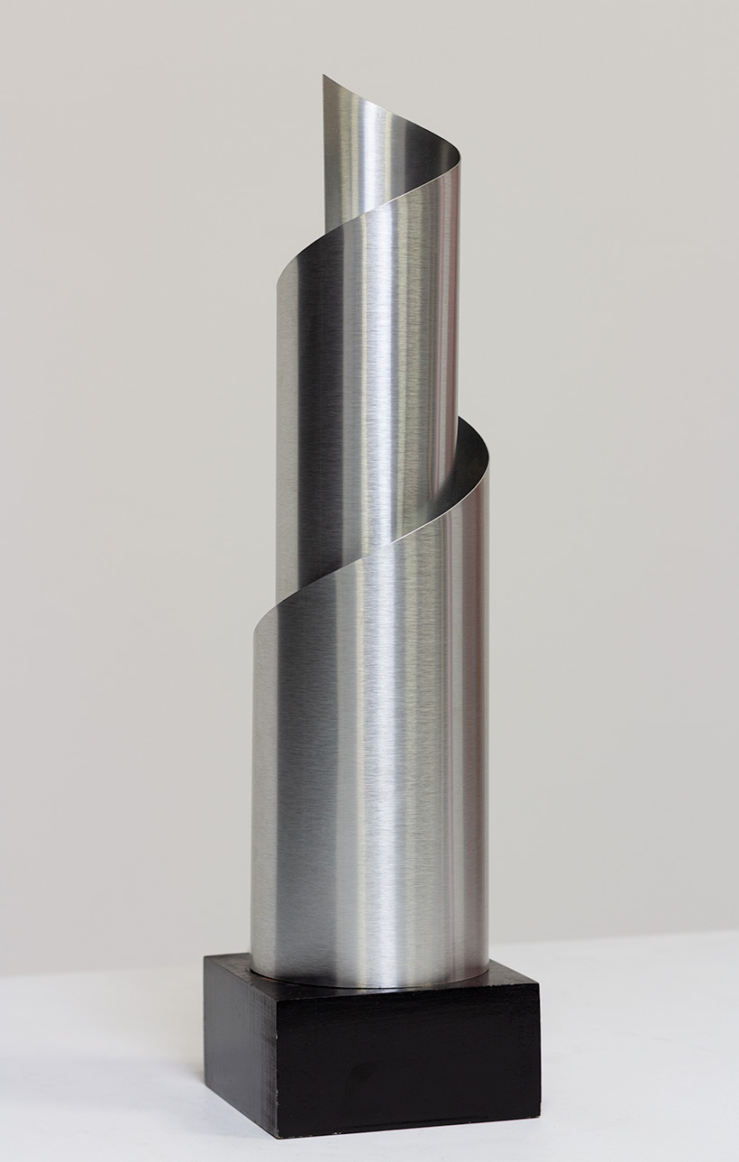 Table lamp with Archimedean spiral bended brushed aluminum France 1970