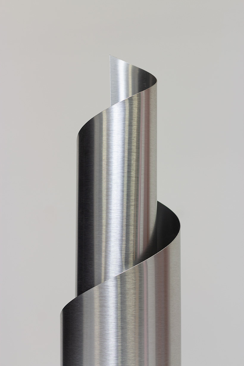 Table lamp with Archimedean spiral bended brushed aluminum France 1970 img 6